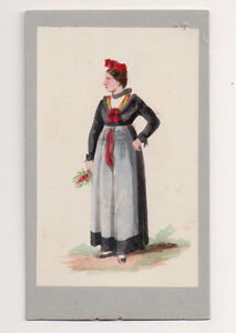 Vintage-CDV-Handpainted-Oberseebach-Alsace-France-Traditional-National-Costume