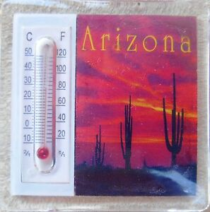 "2 thermometer Magnets 2"" Three Saguaro Cacti Arizona Sunset 2 for the price of 1"
