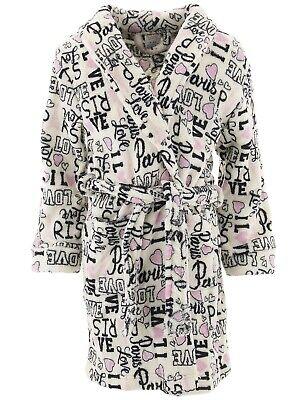 Sweet N Sassy Girls Robe Love Paris White Plush Fleece Long Sleeved Bathrobe