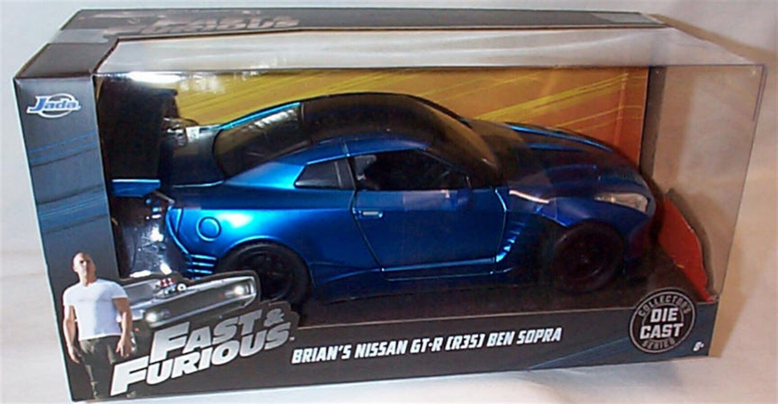 FAST & FURIOUS Brians Nissan GT-R Ben Sopra 1 24 SCALE DIECAST OPENING FEATURES
