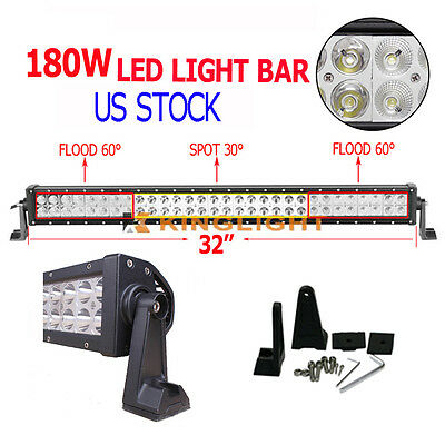 32 Inch 180W LED Light Bar Spot Flood Combo OffRoad Driving Truck Lamps 4WD UTE
