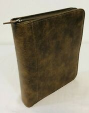 Franklin Covey Classic Planner 7 Ring Zip Binder Brown Faux Leather