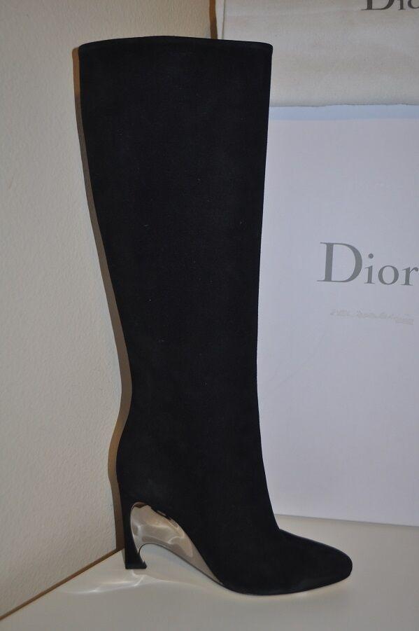 Nuevo Nuevo Nuevo en caja Sz 38.5 Christian Dior Espejo Negro Gamuza Tacón Con Plataforma Alto Zapatos bota de 8.5  el precio más bajo