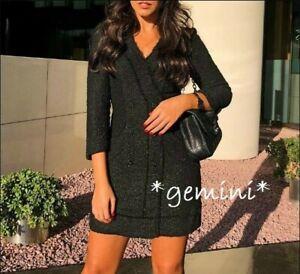 Zara Tweed Kleid Blazerkleid Minikleid Doble Breasted Blazer Smoking Dress S M L Ebay