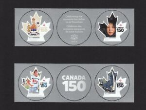 CANADA-150-SPACE-CONSTITUTION-TERRY-FOX-2-pairs-w-tabs-MNH-Canada-2017