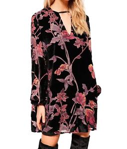 AU-seller-Black-vintage-chic-hippie-floral-velvet-v-neck-long-blouse-mini-dress
