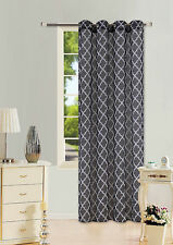 2PC GEOMETRIC PRINTED GROMMET VOILE SHEER PANELS WINDOW CURTAIN TREATMENT #S38