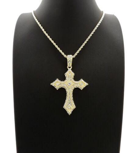 "New Cross Pendant /& 24/"" Box//Cuban//Rope Chain Necklace XZ341G"