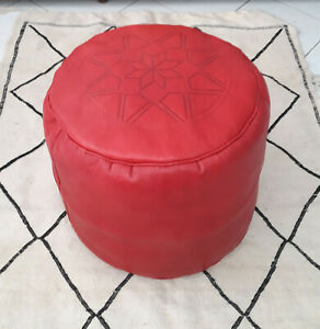 Awesome Details About New Moroccan Leather Ottoman Pouffe Pouf Footstool Red Seat Stool Oriental Machost Co Dining Chair Design Ideas Machostcouk
