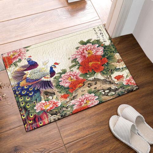 Peacock and Peony Flowers Bathroom Decor Fabric Shower Curtain Set 71Inch Long