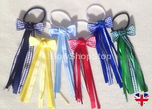 Gingham-Ribbon-Streamer-School-Hair-Bow-Elastic-Bobbles-Hair-Girl-Accessory