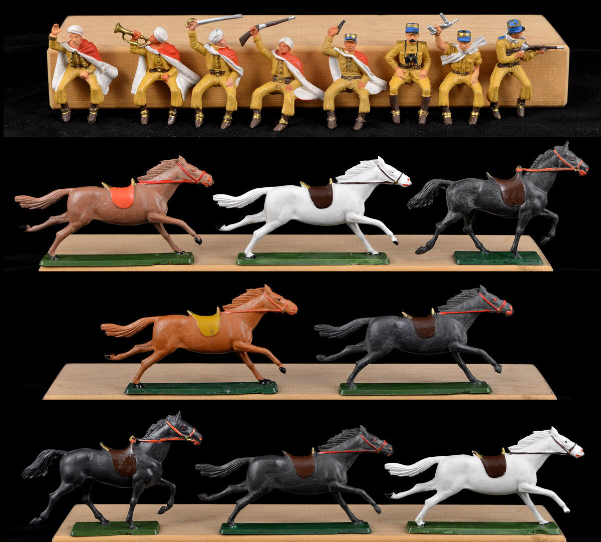Starlux 8 Mounted French Foreign Legion 60mm painted Toy Soldiers - horses vary