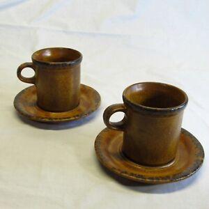 VTG Lot of 2 McCoy Pottery Brown Canyon Mesa Cup & Saucer Set 1412 USA Rustic