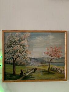 Original-Vintage-Landscape-Oil-On-Canvas-Painting-Framed-Glass-Wood-Frame
