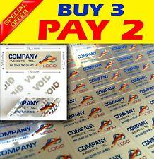 100 Custom Print Warranty Sticker Polyester Label Void Security Seals 15x05