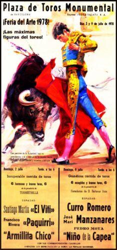 "Canvas Art Poster 12/""x 24 Bullfighting Vintage Poster #33"