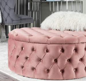 Wondrous Details About Ottoman Coffee Table Vintage Buttoned Footstool Large Velvet Storage Round Stool Pabps2019 Chair Design Images Pabps2019Com