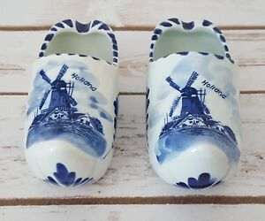 "Delfts Blauw Holland Clogs Blue White Ceramic Dutch Shoes 4"" Set of Two (2)"
