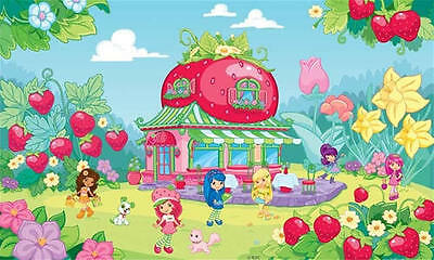"STRAWBERRY SHORTCAKE XL  WALLPAPER MURAL, Pre-pasted, 6' High x 10'6"" Wide"