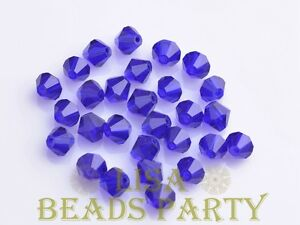 New-100pcs-4mm-Bicone-Faceted-Crystal-Glass-Loose-Spacer-Beads-Deep-Blue