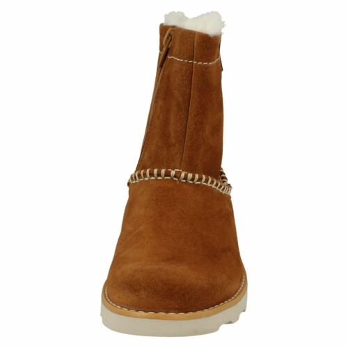 Girls Clarks Crown Piper Suede Leather Winter Boots F /& G Fittings