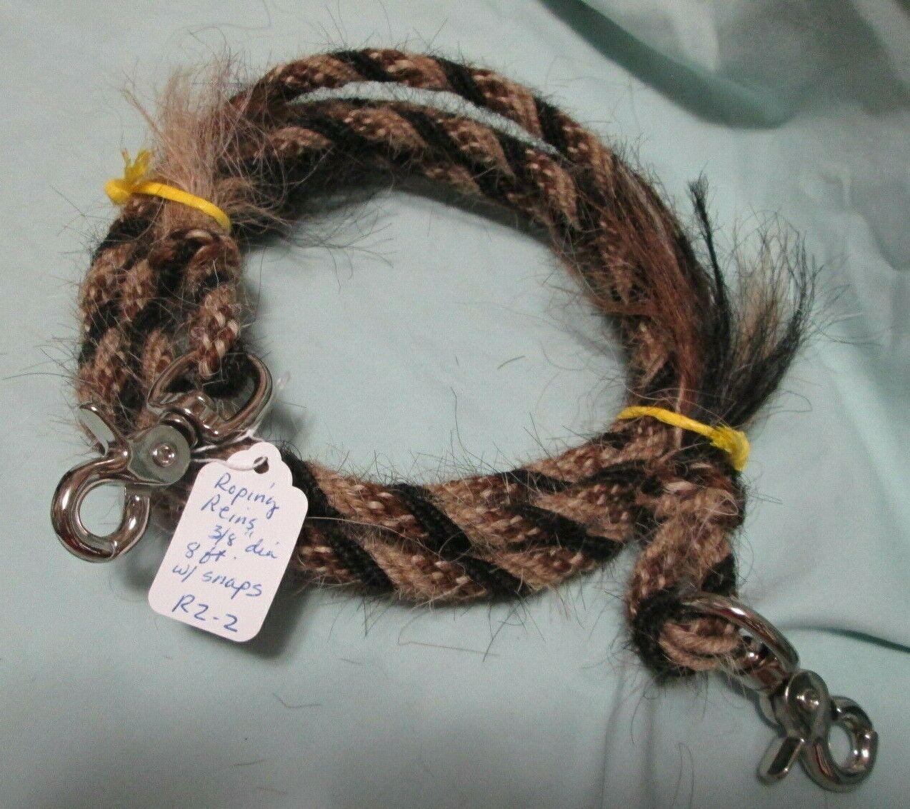 uomoe Horse Hair Roping Reins 8 feet 38 diameter, Pattern R22 with snaps