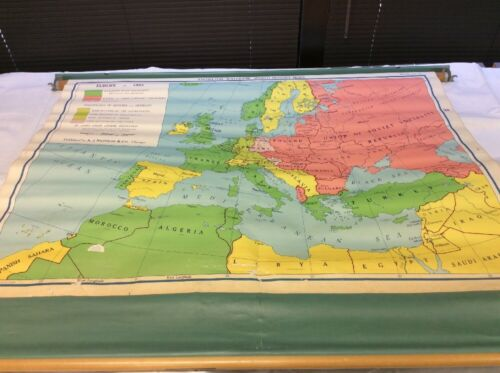 "Vintage NYSTROM Europe in 1953 49.5"" x 36"" Pull Down Map 04103A"
