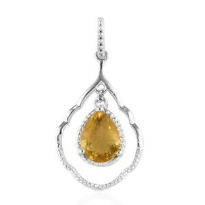 925-Sterling-Silver-Yellow-Fluorite-Pendant-Women-Jewelry-For-Gift-Ct-2