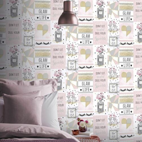 GLAM LIFE COLLAGE WALLPAPER PINK ARTHOUSE 699402 GLITTER NEW
