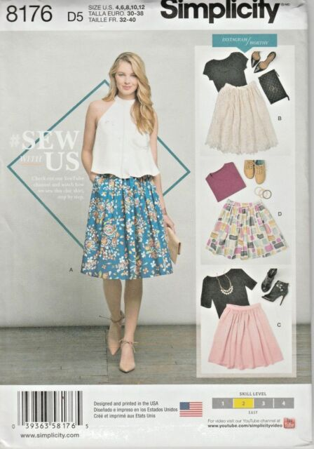 abeac202f9991 Simplicity Sewing Pattern 8294 Misses 4-12 Easy Skirts Gathered Waist 3  Lengths