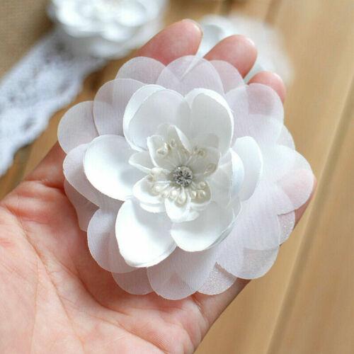 10x 3D Flower Applique Wedding Bridal Costume Veil Decor Handmade Sew On Crafts