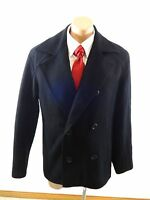 GUESS MENS BLACK WOOL BLEND PEACOAT JACKET SIZE M