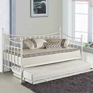 versailles french metal day bed with free guest pull out. Black Bedroom Furniture Sets. Home Design Ideas