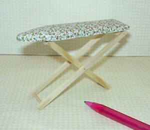 Miniature-Falcon-Padded-Ironing-Board-Covered-in-Calico-Fabric-DOLLHOUSE-1-12