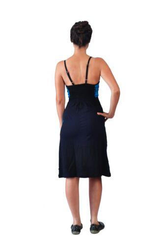 Tattopani Mit Patch Ärmellos Sonne Sommer Design Mehrfarbig Kleid Damen BOrgXBx