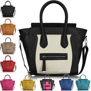 Womens-Ladies-Designer-Leather-Style-Tote-Satchel-Shoulder-Bag-Crossbody-Handbag