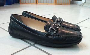 GEOX-034-Respira-034-Mokassins-Halbschuhe-Loafers-Slipper-Gr-DE-37-schwarz-Leder