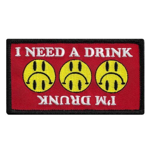 Je suis ivre//i need a drink-Drôle Iron-on patch brodé Nouveauté Fête sobre