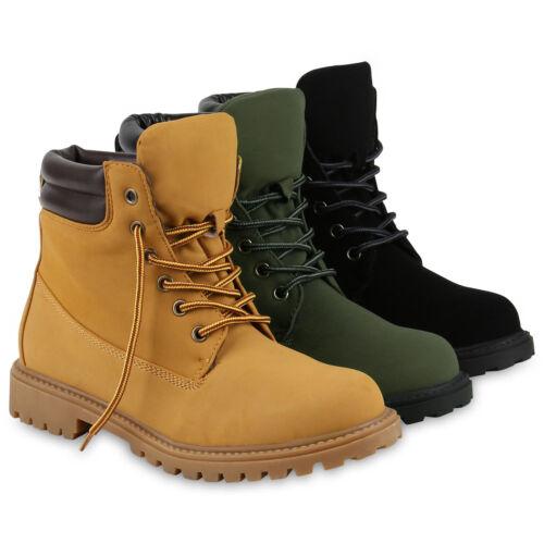 Modische Damen Worker Boots Profilsohle Stiefeletten Outdoor 812184 Schuhe