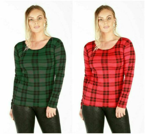 Femme Tartan T-shirt stretch Carreaux Manche Longue Col Rond Taille UK 8-26
