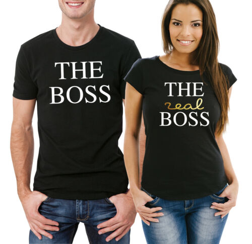 The Boss The real Boss couple his and her matching black T-shirts set.