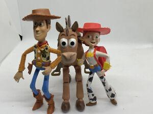 """Disney Pixar TOY STORY Woody, Jess & Bullseye 7"""" Posable Figures  VGC"""
