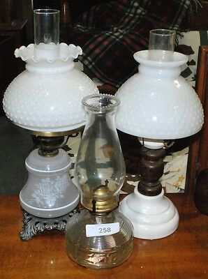 LOT OF THREE VINTAGE HURRICANE LAMPS TWO Lot 258