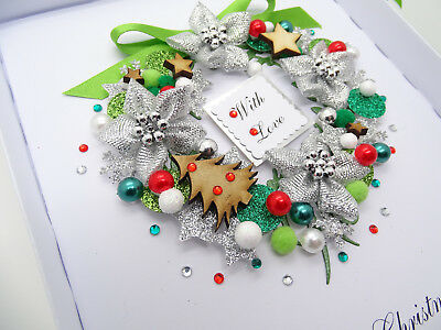 Handmade CHRISTMAS CARD Personalised GOLD Xmas Twig 3D Gift Box Folded GREETINGS