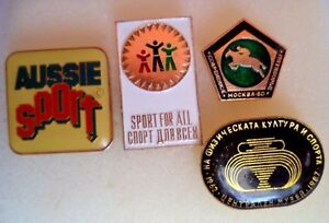 Lot-of-4-different-Sports-Pins-badgen-from-Germany-Russia-etc