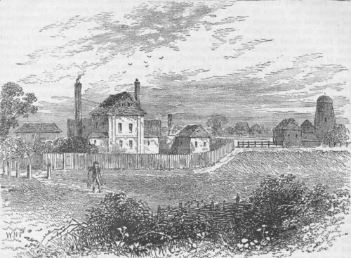 London c1880 old antique print picture CANONBURY in 1753 The new river head