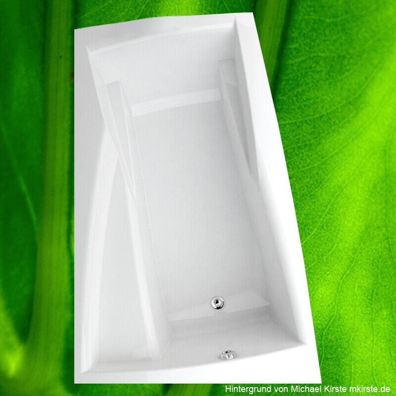 Badewanne 160x105 cm Ara Links incl. Füße + Schürze + Ablauf + Befestigungset