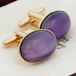 Vintage-1950s-Purple-Moonglow-Glass-Oval-Gold-Plated-Cufflinks