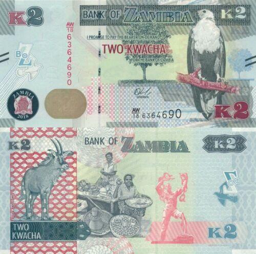 UNC banknote Bundle lot 100 PCS ND 1986-1988 Zambia 2 Kwacha P-24c