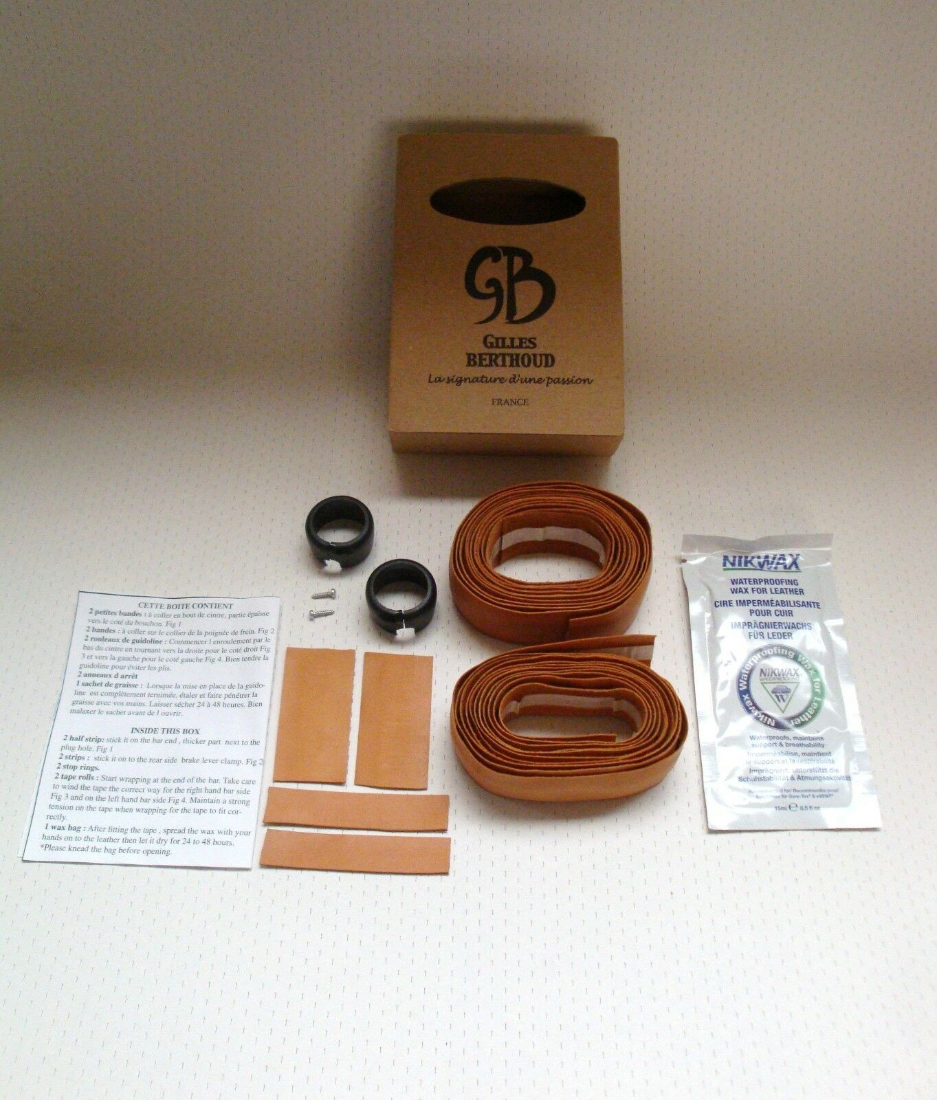 NEW IN BOX GILLES BERTHOUD NATURAL LEATHER CALF HANDLEBAR TAPE MADE IN FRANCE